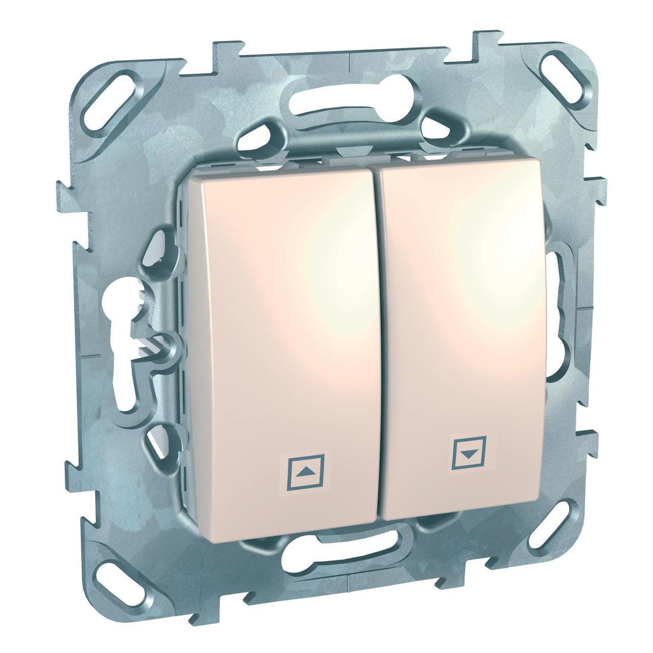 Выключатель для жалюзи (рольставней) с фиксацией , Бежевый, серия Unica, Schneider Electric