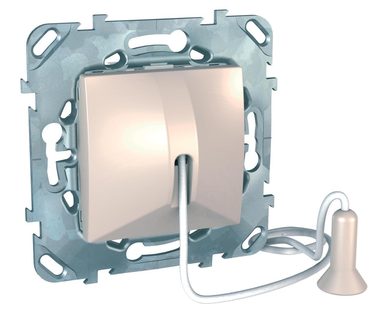 Выключатель кнопочный со шнурком (звонок) , Бежевый, серия Unica, Schneider Electric