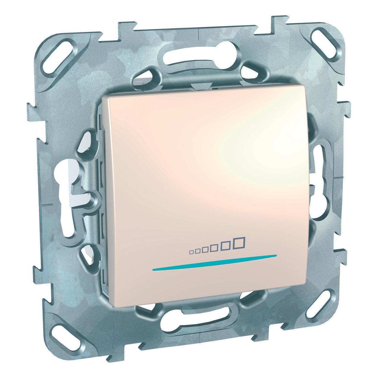 Диммер нажимной (кнопочный) 400Вт для л/н и эл.трансф. , Бежевый, серия Unica, Schneider Electric