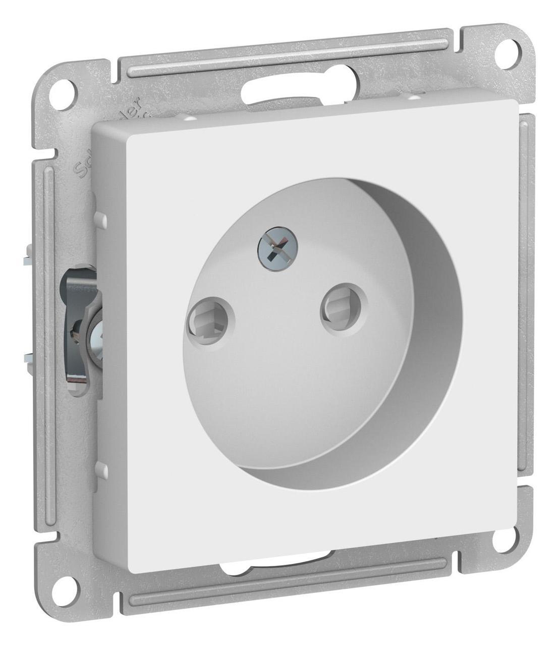 Розетка 1-ая электрическая без заземления с защитными шторками , Белый, серия Atlas Design, Schneider Electric