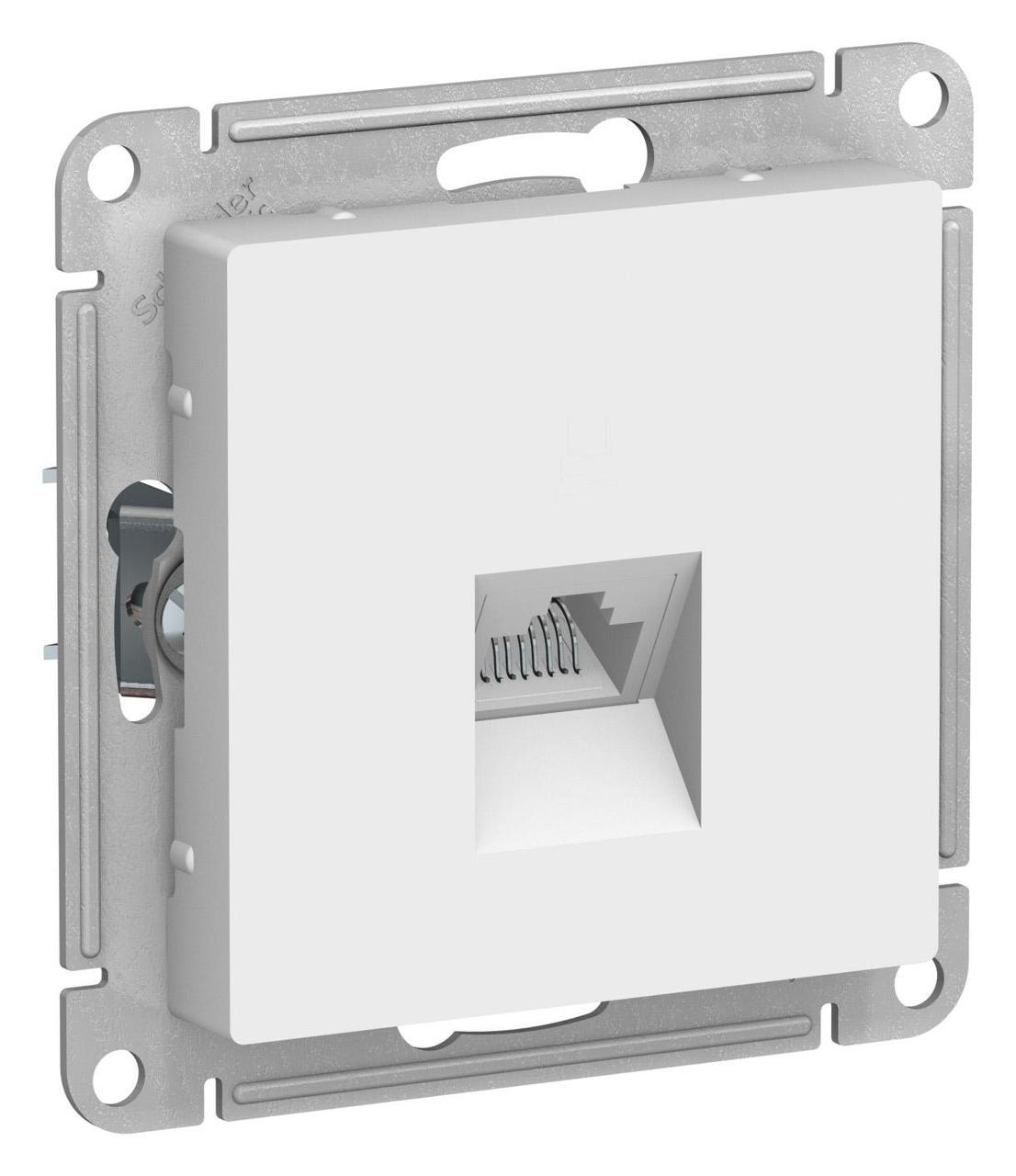 Розетка компьютерная 1-ая кат.5е, RJ-45 (интернет) , Белый, серия Atlas Design, Schneider Electric