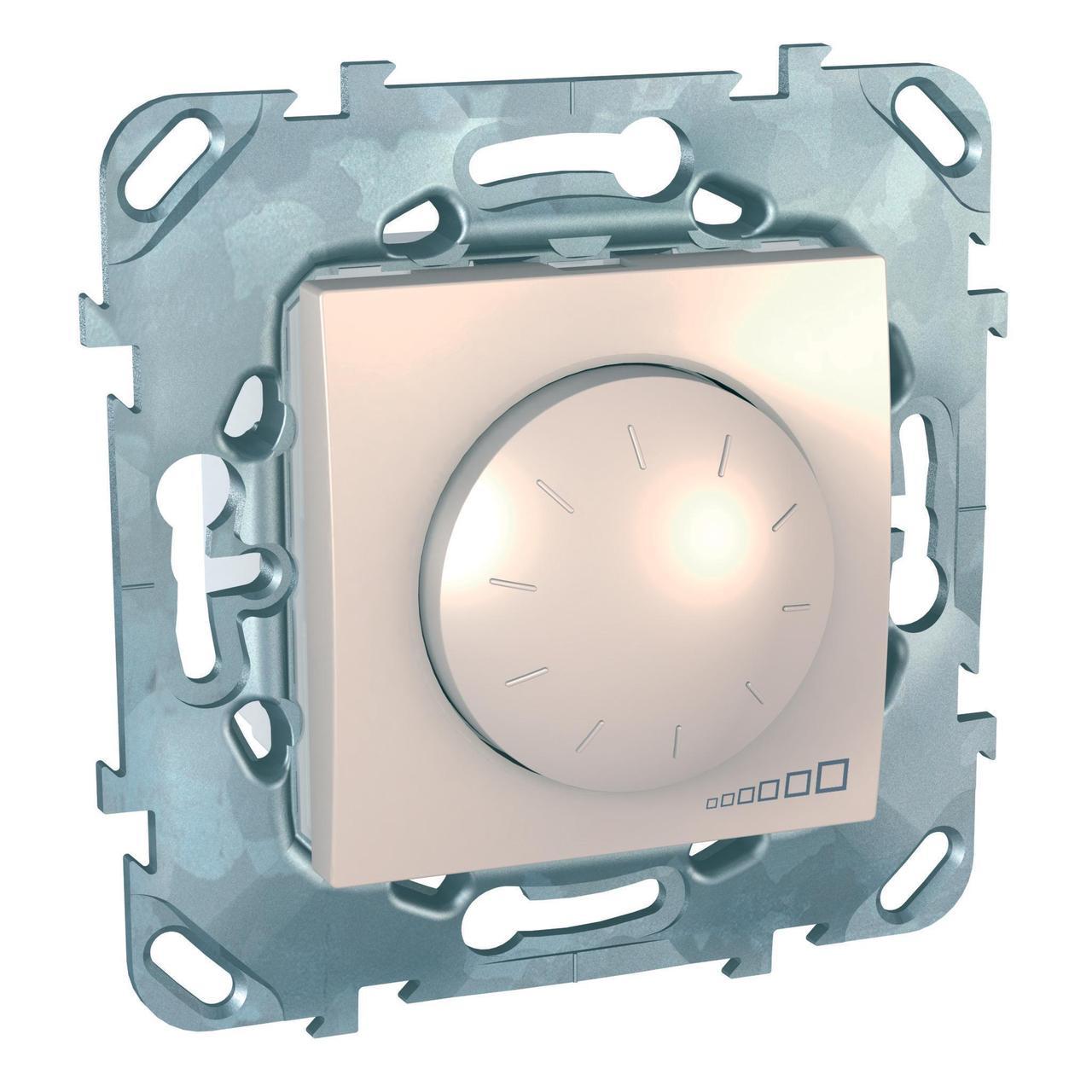 Диммер поворотно-нажимной 1000Вт для ламп накаливания , Бежевый, серия Unica, Schneider Electric