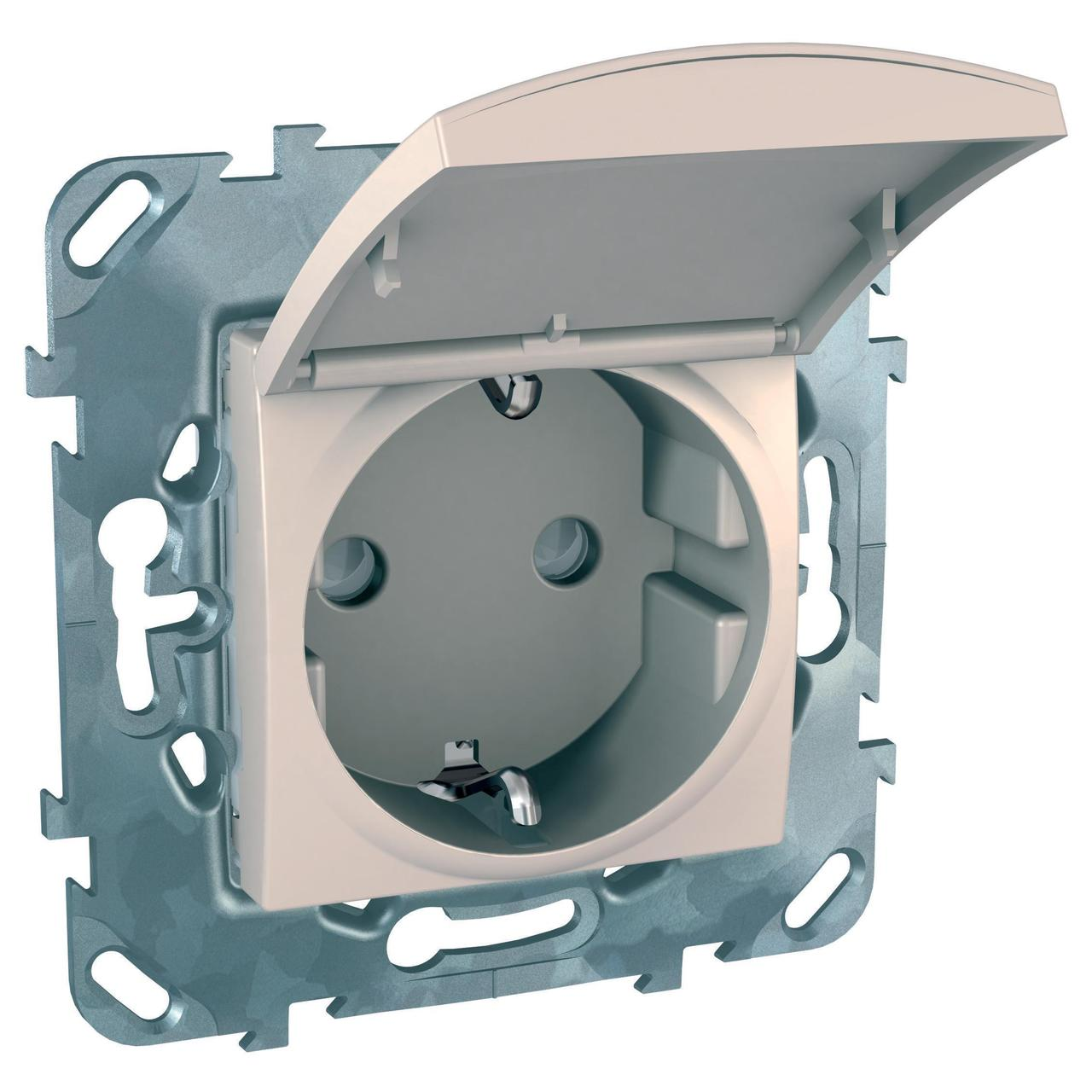 Розетка 1-ая электрическая , с заземлением и крышкой , Бежевый, серия Unica, Schneider Electric