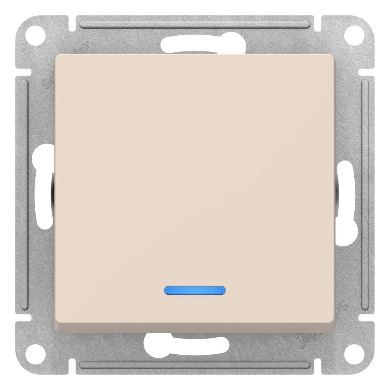 Выключатель 1-клавишный ,проходной с индикацией (с двух мест) , Бежевый, серия Atlas Design, Schneider