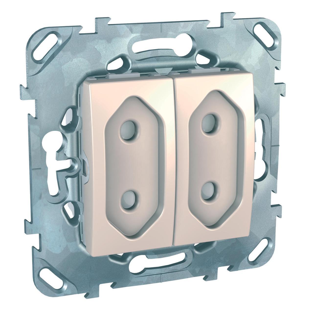 Розетка 2-ая электрическая без заземления с защитными шторками (для узких вилок) , Бежевый, серия Unica,