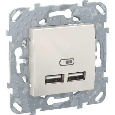 Розетка USB 2-ая 2100 мА (для подзарядки) , Бежевый, серия Unica, Schneider Electric