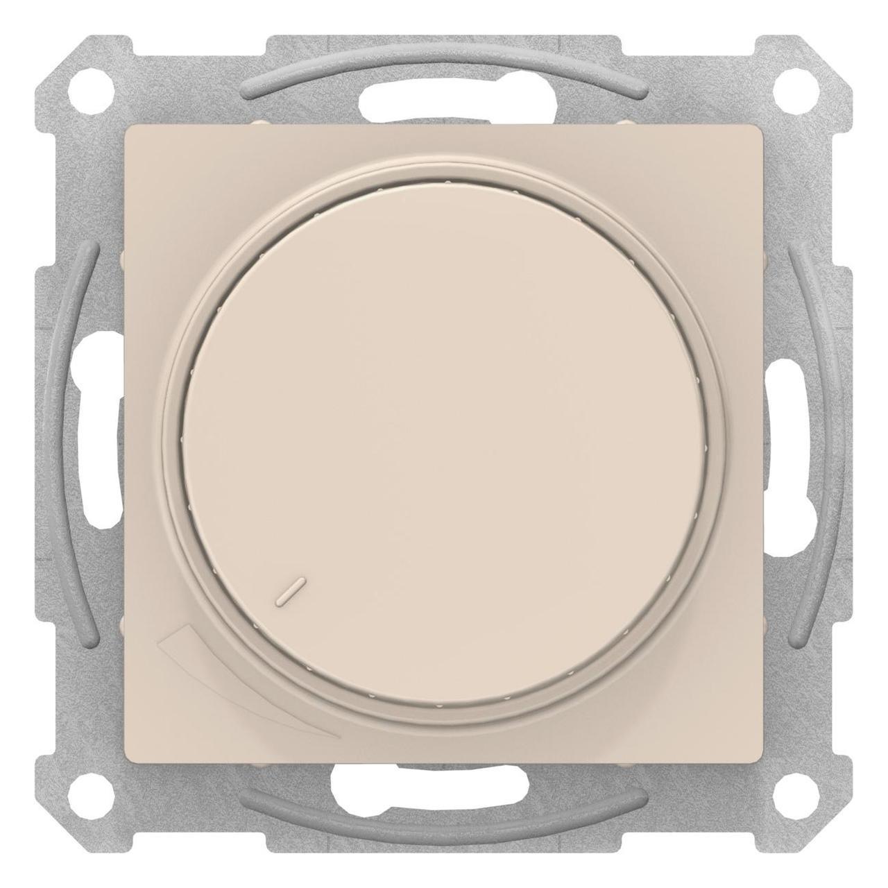 Диммер поворотно-нажимной , 600Вт для ламп накаливания , Бежевый, серия Atlas Design, Schneider Electric