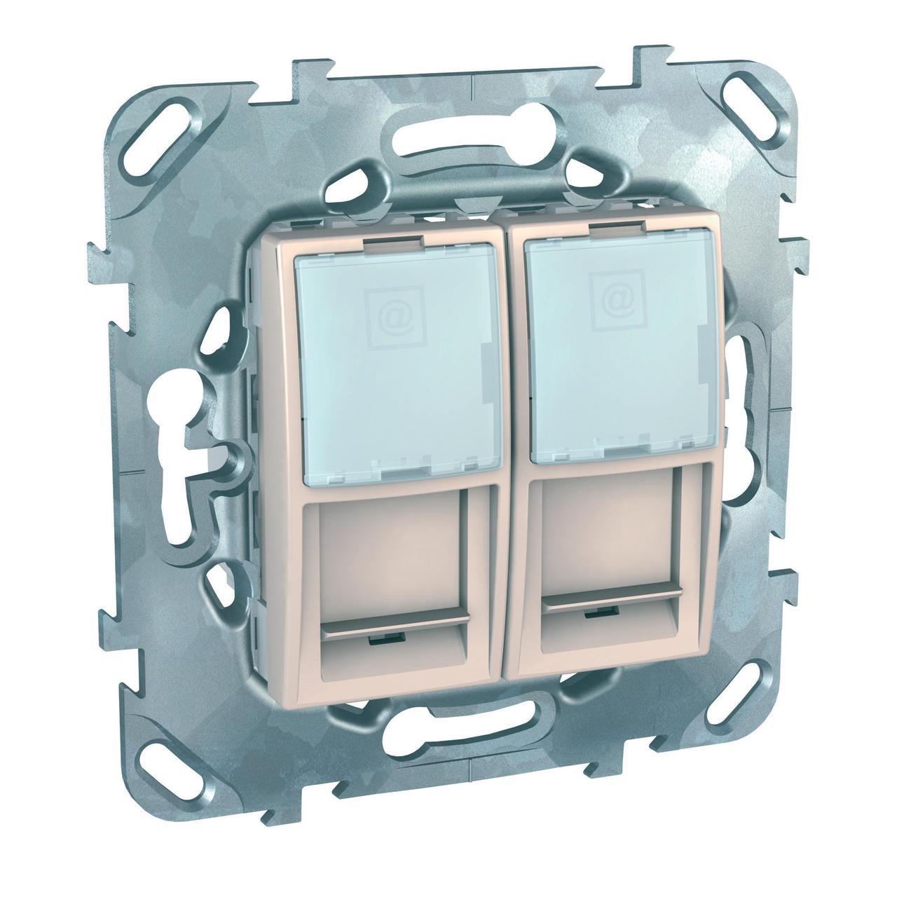 Розетка компьютерная 2-ая кат.6, RJ-45 (интернет) , Бежевый, серия Unica, Schneider Electric