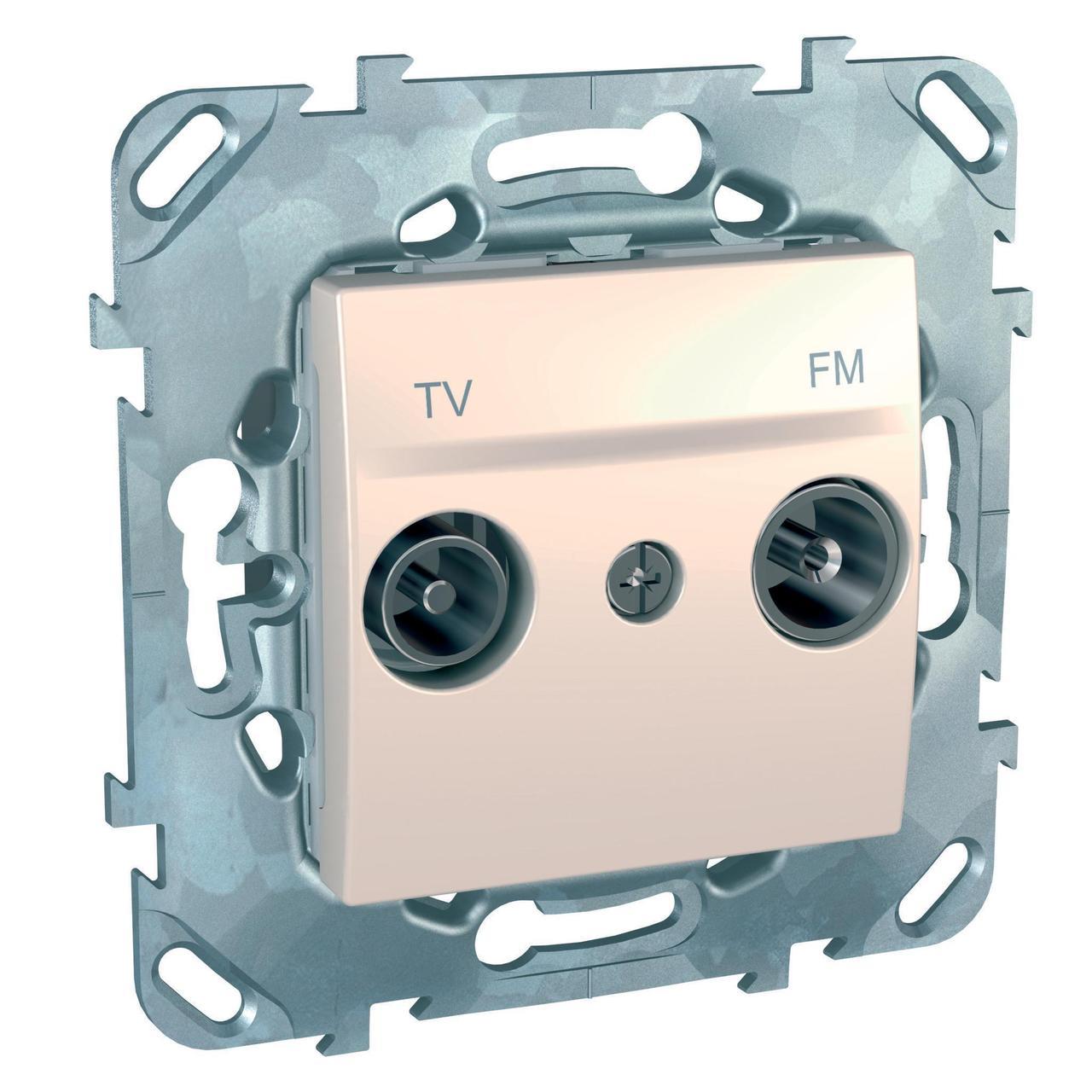 Розетка телевизионная единственная ТV-FМ , Бежевый, серия Unica, Schneider Electric