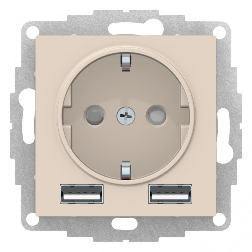 Розетка 1-ая электрическая , с заземлением, c USB , Бежевый, серия Atlas Design, Schneider Electric