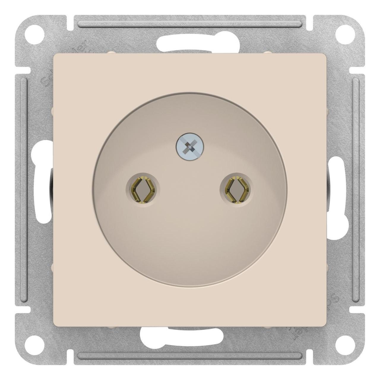 Розетка 1-ая электрическая без заземления , Бежевый, серия Atlas Design, Schneider Electric