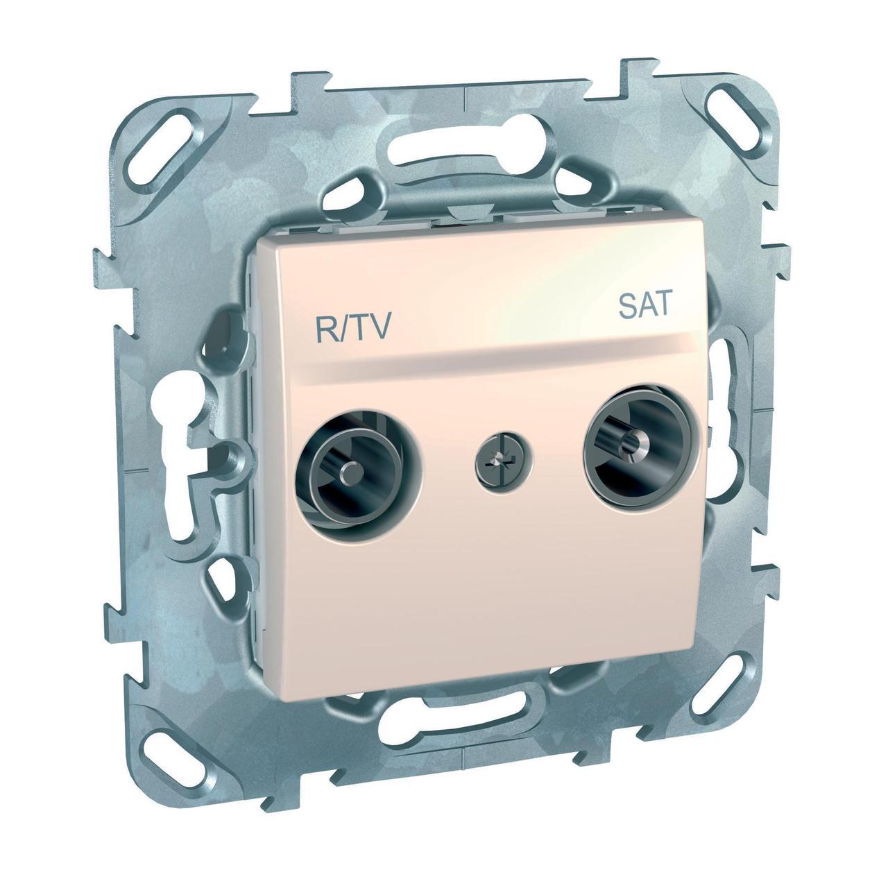 Розетка телевизионная проходная ТV-FМ-SАТ , Бежевый, серия Unica, Schneider Electric