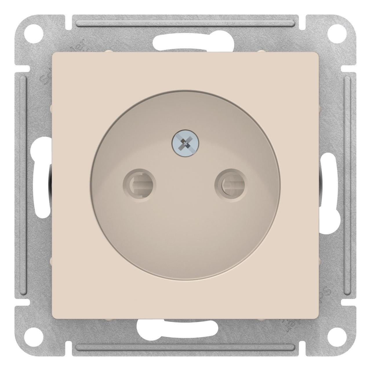 Розетка 1-ая электрическая без заземления с защитными шторками , Бежевый, серия Atlas Design, Schneider