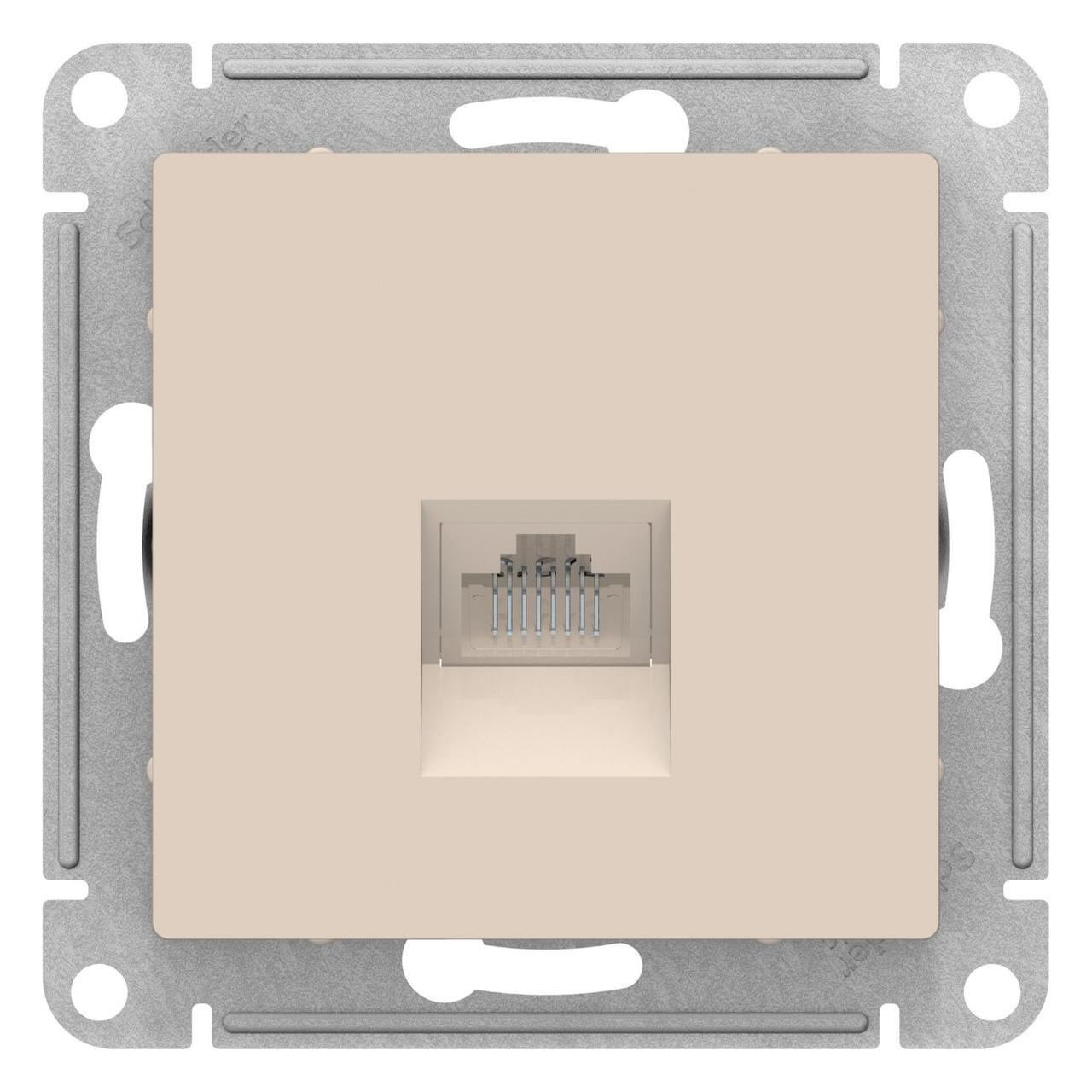 Розетка компьютерная 1-ая кат.5е, RJ-45 (интернет) , Бежевый, серия Atlas Design, Schneider Electric