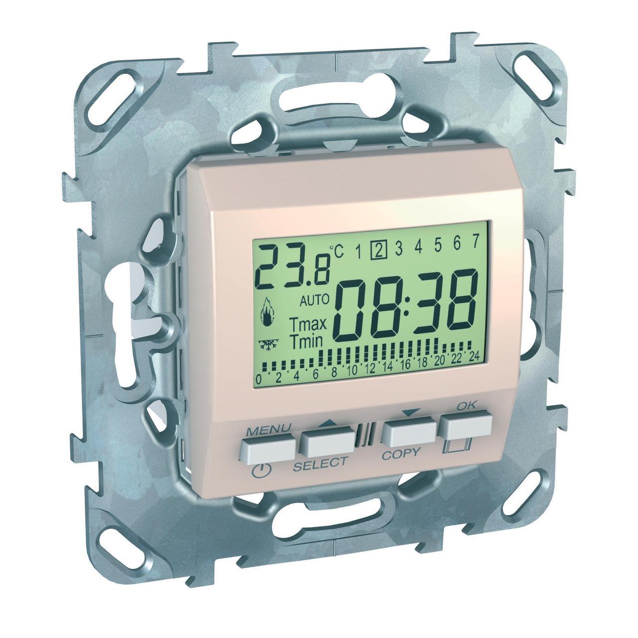 Термостат комнатный программируемый , Бежевый, серия Unica, Schneider Electric