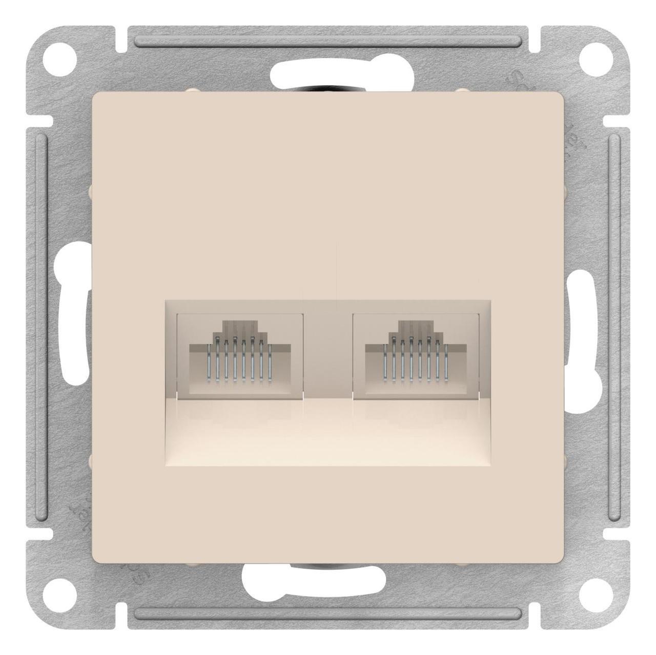Розетка компьютерная 2-ая кат.5е, RJ-45 (интернет) , Бежевый, серия Atlas Design, Schneider Electric