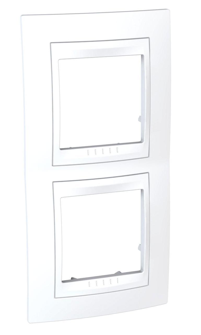 Рамка 2-ая (двойная) вертикальная, Белый, серия Unica, Schneider Electric
