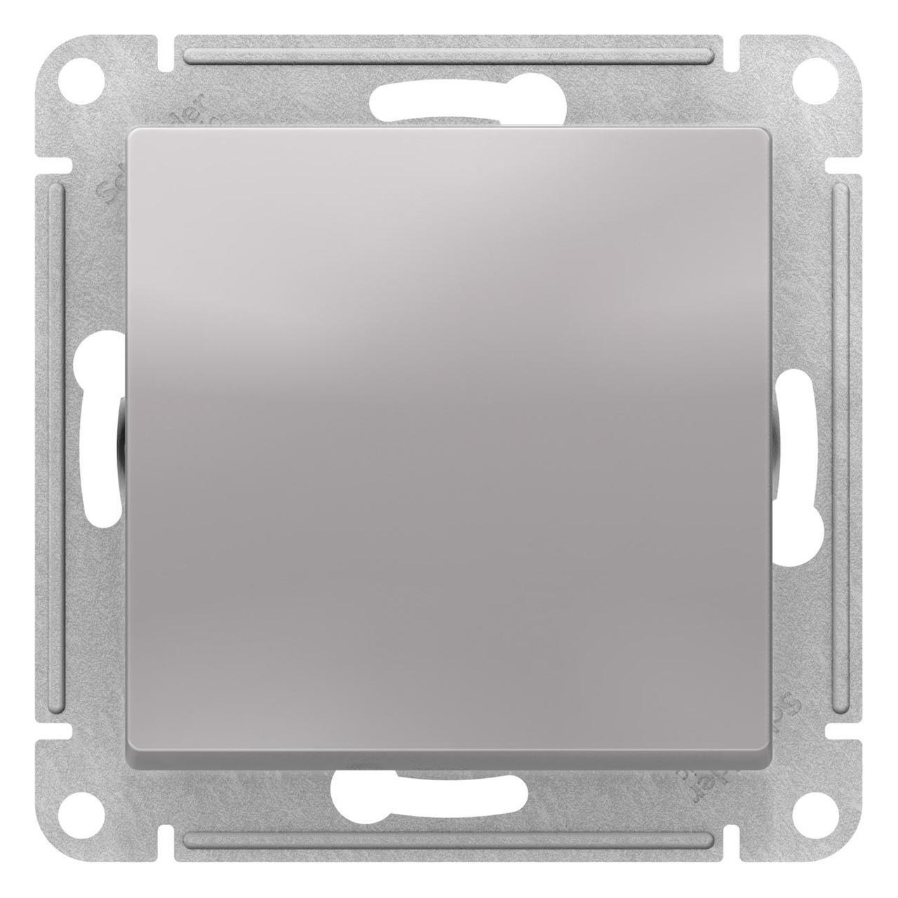 Выключатель 1-клавишный ,проходной (с двух мест) , Алюминий, серия Atlas Design, Schneider Electric