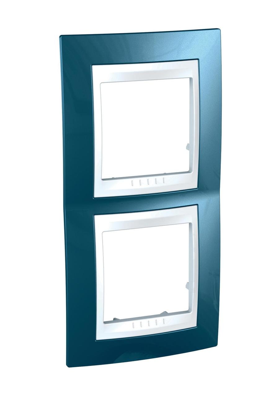 Рамка 2-ая (двойная) вертикальная, Голубой лед/Белый, серия Unica, Schneider Electric