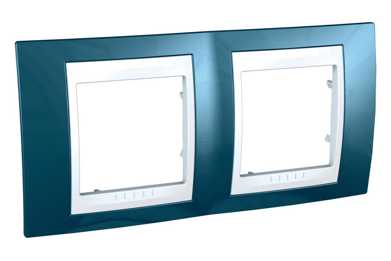 Рамка 2-ая (двойная), Голубой лед/Белый, серия Unica, Schneider Electric