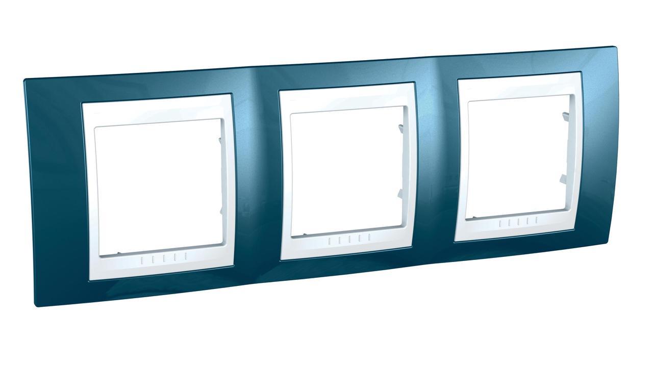 Рамка 3-ая (тройная), Голубой лед/Белый, серия Unica, Schneider Electric