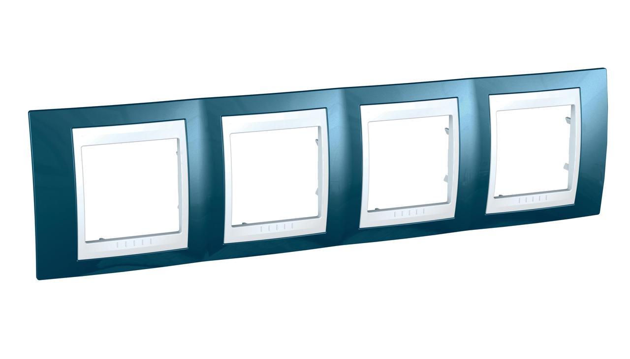 Рамка 4-ая (четверная), Голубой лед/Белый, серия Unica, Schneider Electric