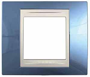 Рамка 1-ая (одинарная), Голубой лед/Бежевый, серия Unica, Schneider Electric
