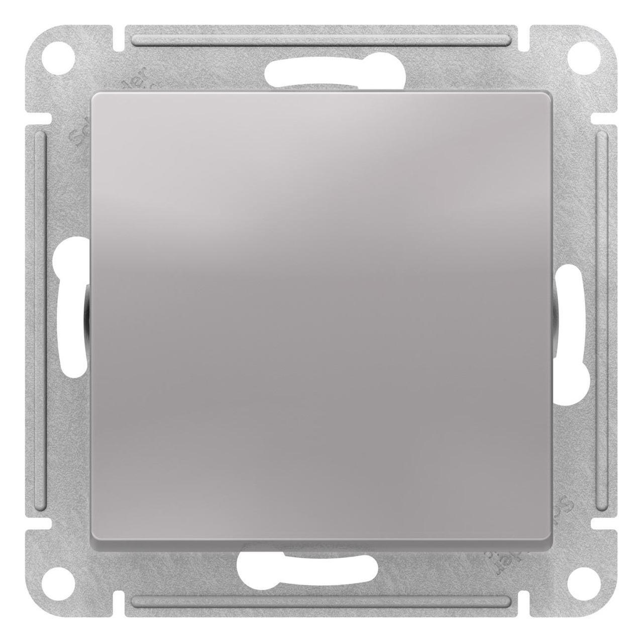 Выключатель 1-клавишный, перекрестный (с трех мест) , Алюминий, серия Atlas Design, Schneider Electric