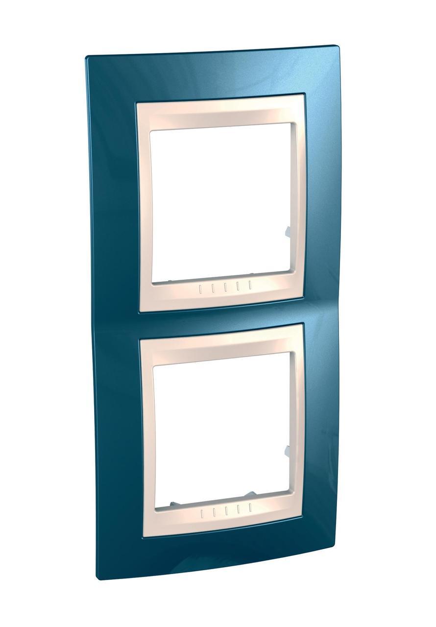 Рамка 2-ая (двойная) вертикальная, Голубой лед/Бежевый, серия Unica, Schneider Electric