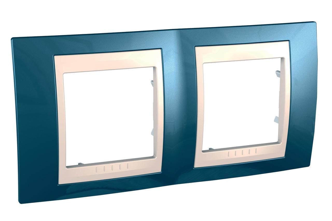 Рамка 2-ая (двойная), Голубой лед/Бежевый, серия Unica, Schneider Electric