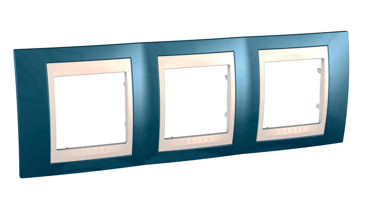 Рамка 3-ая (тройная), Голубой лед/Бежевый, серия Unica, Schneider Electric
