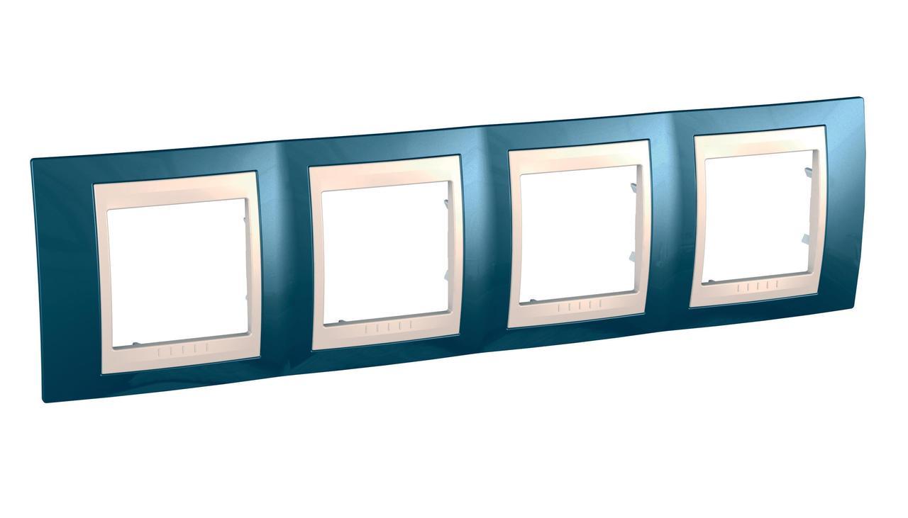 Рамка 4-ая (четверная), Голубой лед/Бежевый, серия Unica, Schneider Electric