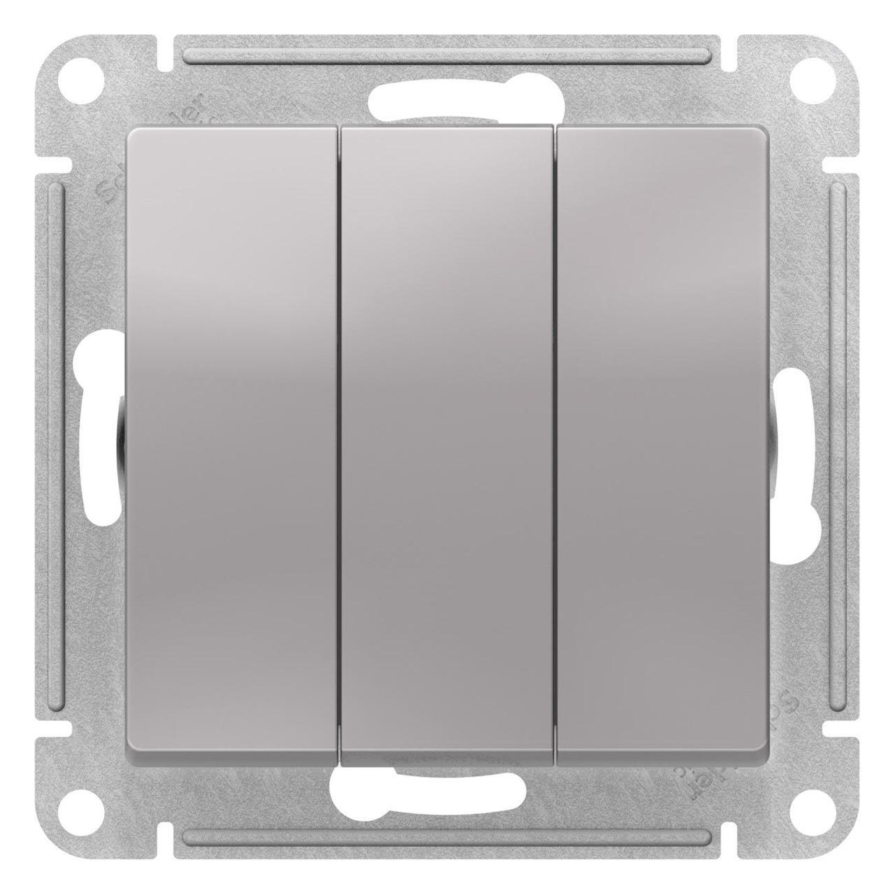 Выключатель 3-клавишный , Алюминий, серия Atlas Design, Schneider Electric