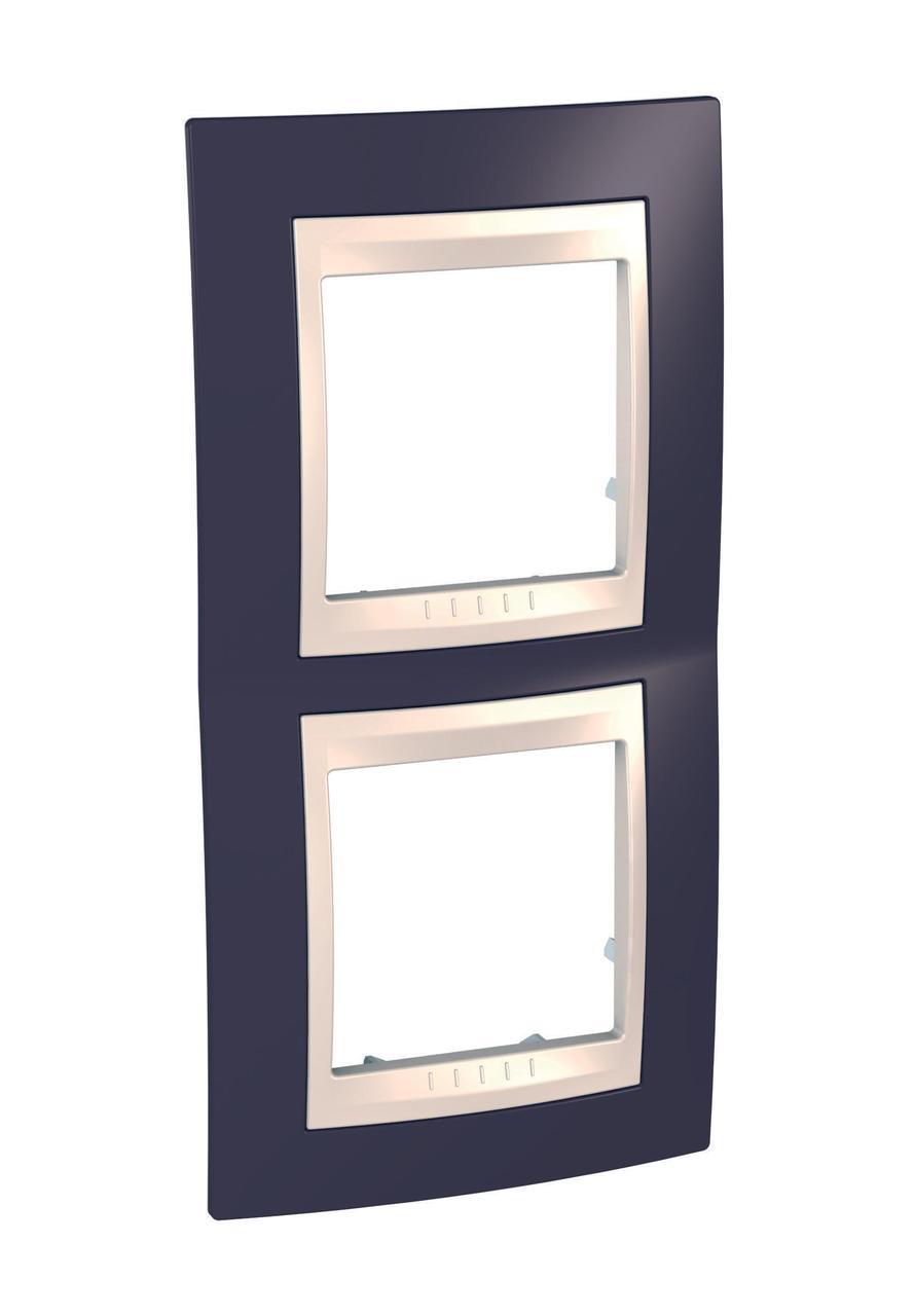 Рамка 2-ая (двойная) вертикальная, Гранат/Бежевый, серия Unica, Schneider Electric