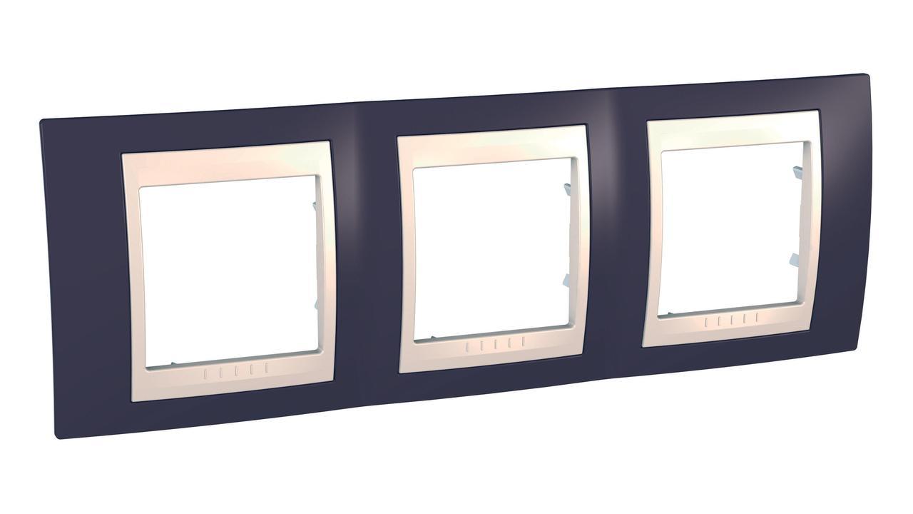 Рамка 3-ая (тройная), Гранат/Бежевый, серия Unica, Schneider Electric