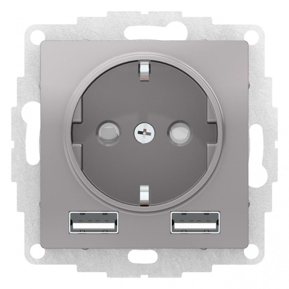 Розетка 1-ая электрическая , с заземлением, c USB , Алюминий, серия Atlas Design, Schneider Electric