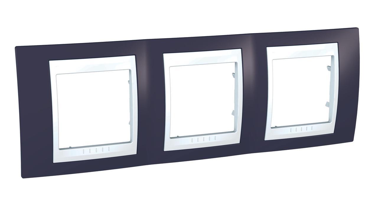 Рамка 3-ая (тройная), Гранат/Белый, серия Unica, Schneider Electric