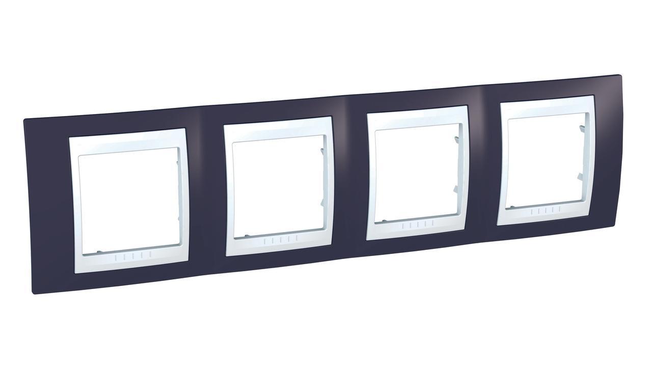 Рамка 4-ая (четверная), Гранат/Белый, серия Unica, Schneider Electric