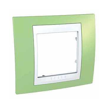 Рамка 1-ая (одинарная), Зеленое яблоко/Белый, серия Unica, Schneider Electric