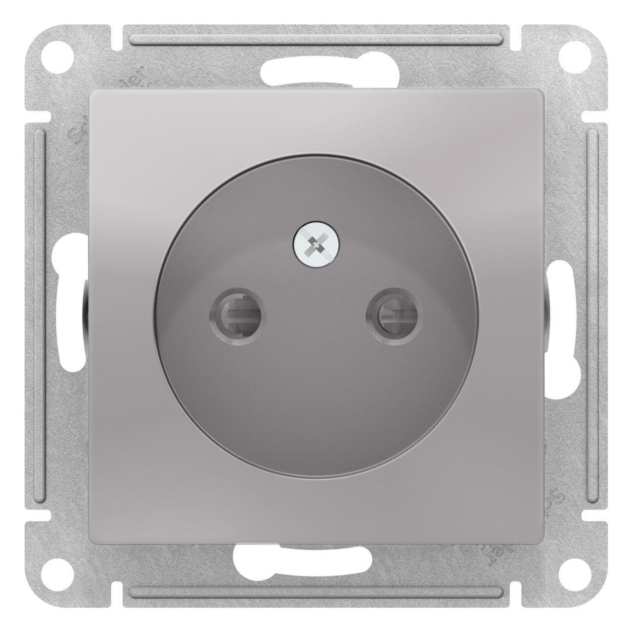 Розетка 1-ая электрическая без заземления с защитными шторками , Алюминий, серия Atlas Design, Schneider