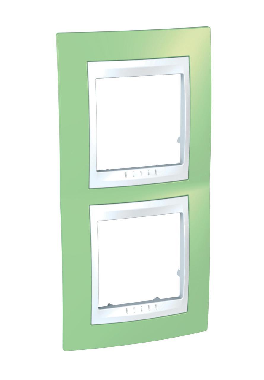 Рамка 2-ая (двойная) вертикальная, Зеленое яблоко/Белый, серия Unica, Schneider Electric