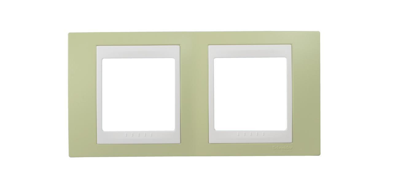 Рамка 2-ая (двойная), Зеленое яблоко/Белый, серия Unica, Schneider Electric