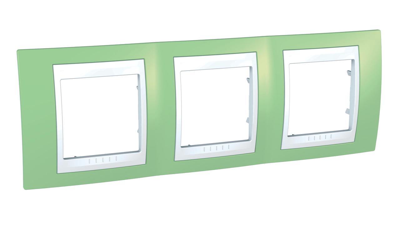 Рамка 3-ая (тройная), Зеленое яблоко/Белый, серия Unica, Schneider Electric
