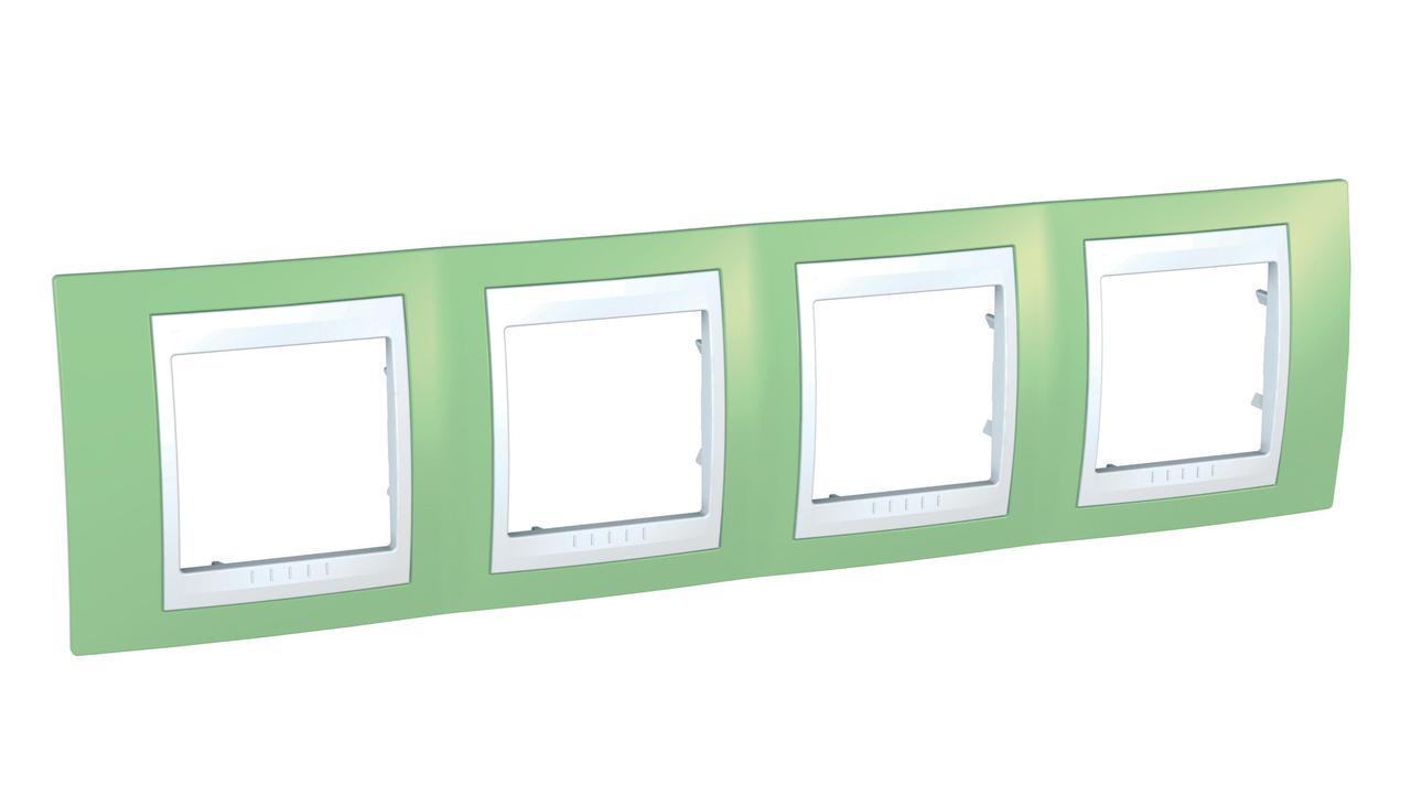 Рамка 4-ая (четверная), Зеленое яблоко/Белый, серия Unica, Schneider Electric