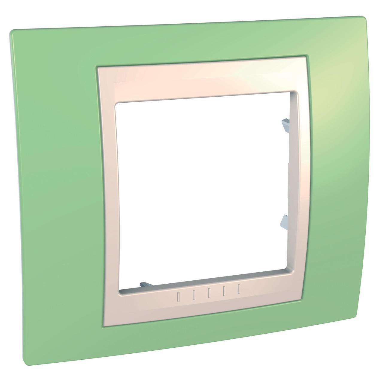 Рамка 1-ая (одинарная), Зеленое яблоко/Бежевый, серия Unica, Schneider Electric