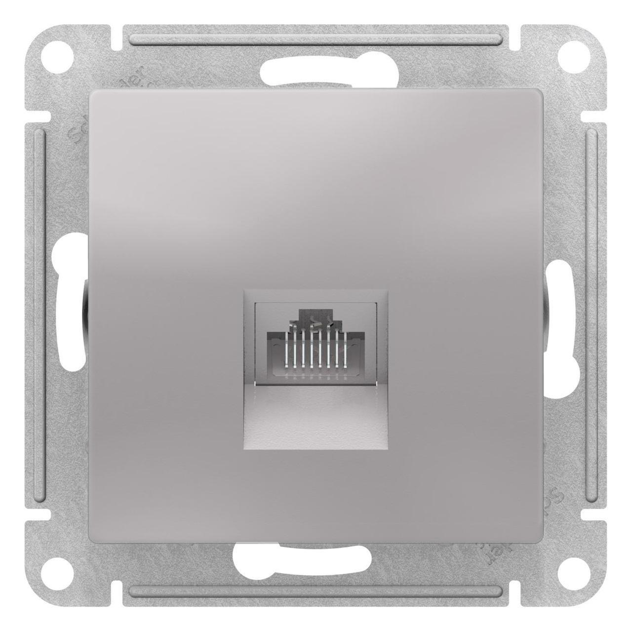 Розетка компьютерная 1-ая кат.5е, RJ-45 (интернет) , Алюминий, серия Atlas Design, Schneider Electric