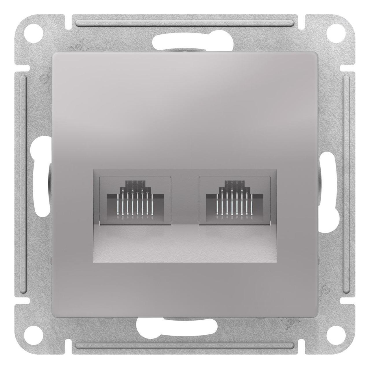 Розетка компьютерная 2-ая кат.5е, RJ-45 (интернет) , Алюминий, серия Atlas Design, Schneider Electric