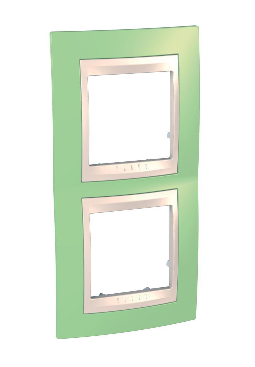 Рамка 2-ая (двойная) вертикальная, Зеленое яблоко/Бежевый, серия Unica, Schneider Electric