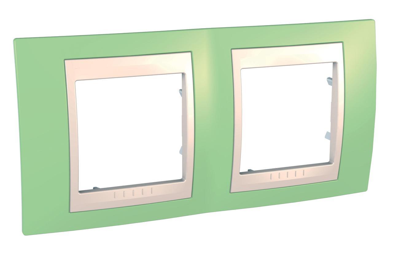Рамка 2-ая (двойная), Зеленое яблоко/Бежевый, серия Unica, Schneider Electric