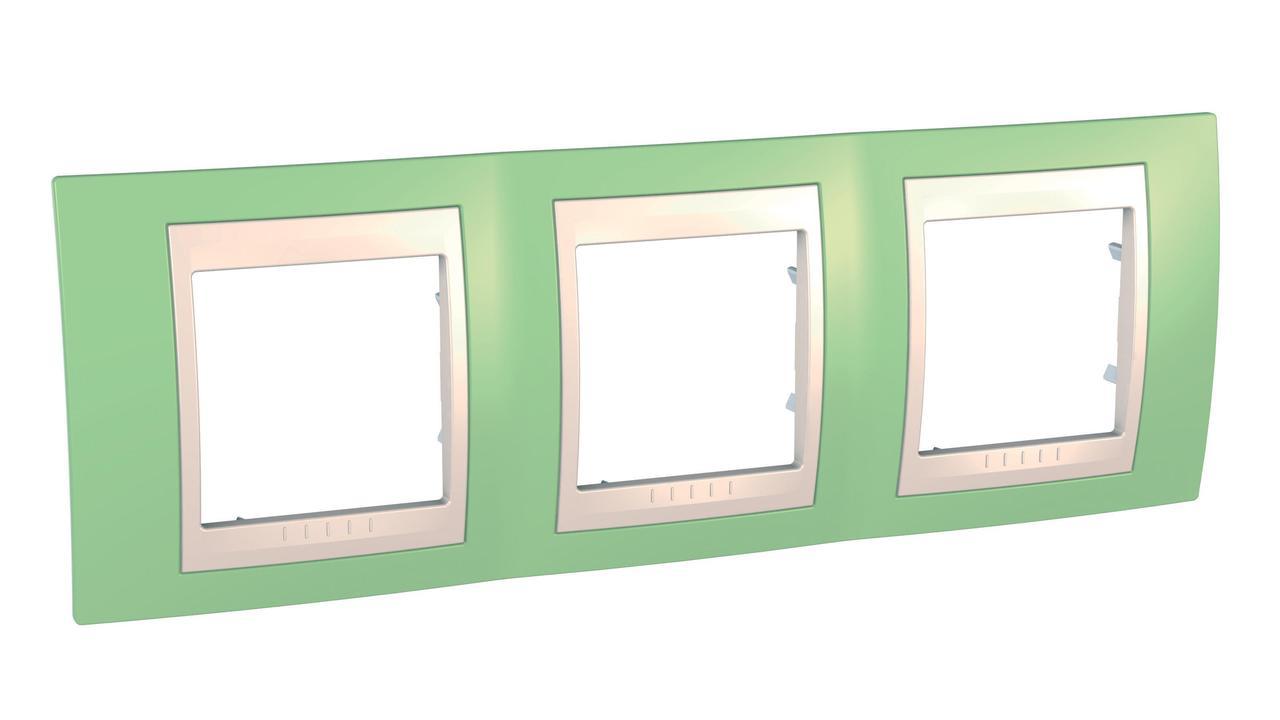 Рамка 3-ая (тройная), Зеленое яблоко/Бежевый, серия Unica, Schneider Electric